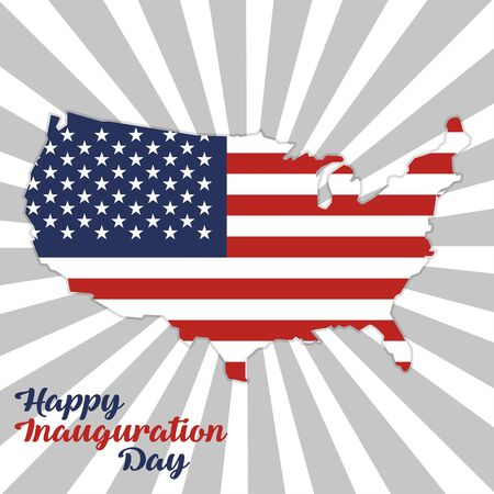 Inauguration Day with USA map with flag on a rays background