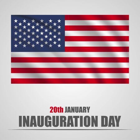 inaugural: Inauguration Day with USA waving flag on a gray background