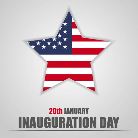 Inauguration Day with USA star flag on a gray background Vectores