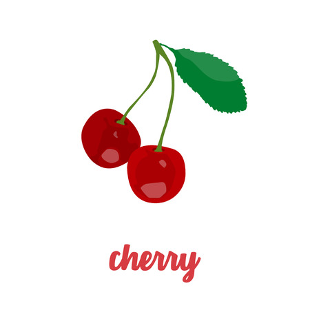 Cherry icon in a flat design on a white background
