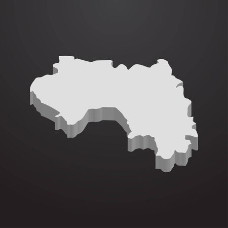 Guinea map in gray on a black background 3d