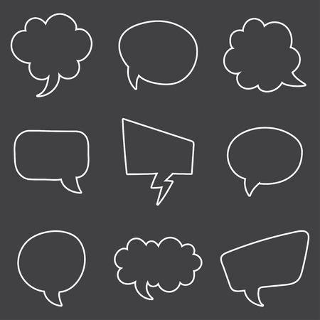speech buble: Speech Bubble Skech Set Isolated on black Background. Vector Illustration
