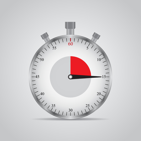 timekeeper: Realistic image of a sports stopwatch. Symbol competition. Icon isolated on gray background
