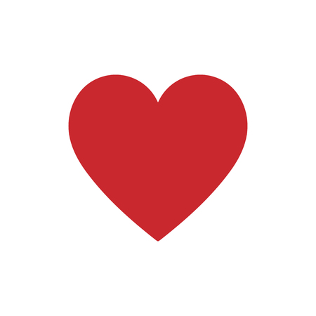 Red heart icon on a white background. Vector illustration