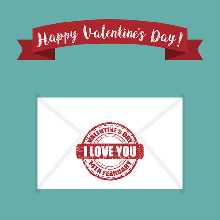 Letter with a stamp I love you for Valentines Day. Vector illustration