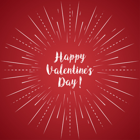 Happy Valentines Day calligraphy on a red background. Vector illustration Illustration