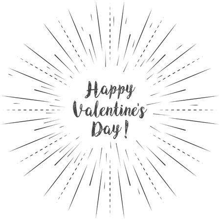 Happy Valentines Day calligraphy on a white background. Vector illustration
