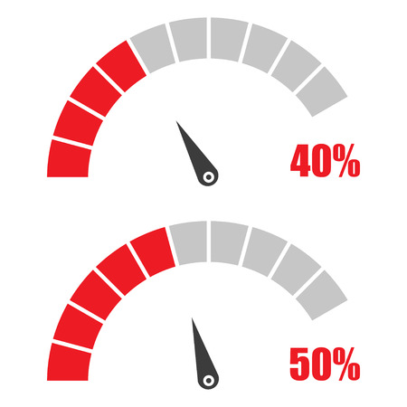 rating gauge: Set of speedometer or rating meter signs infographic gauge element with percent 40, 50