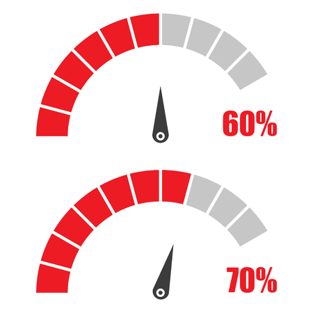 rating gauge: Set of speedometer or rating meter signs infographic gauge element with percent 60, 70