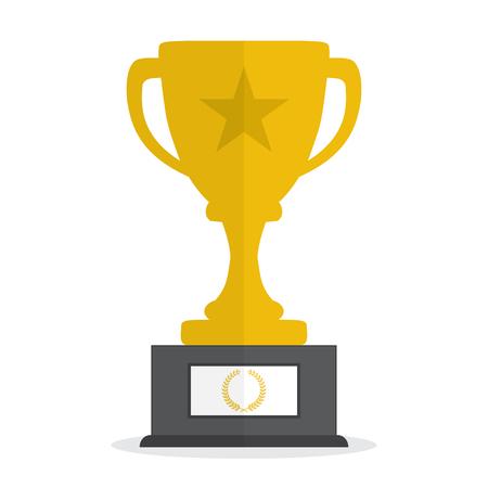 Cup trofeo campeón icono de oro. Ilustración vectorial Ilustración de vector
