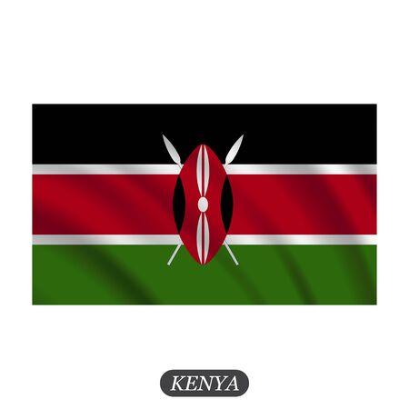 kenya: Waving Kenya flag on a white background. Vector illustration Illustration