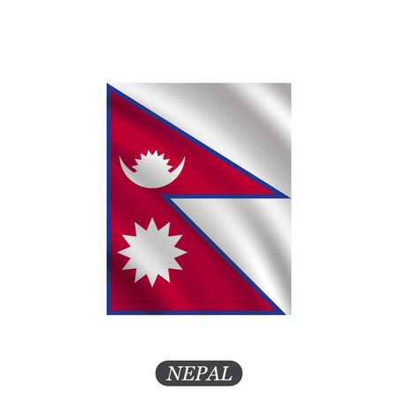 Waving Nepal flag on a white background. Vector illustration