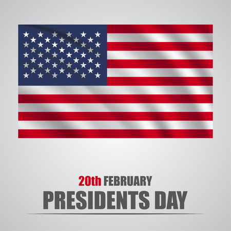 Presidents Day. USA waving flag on a gray background