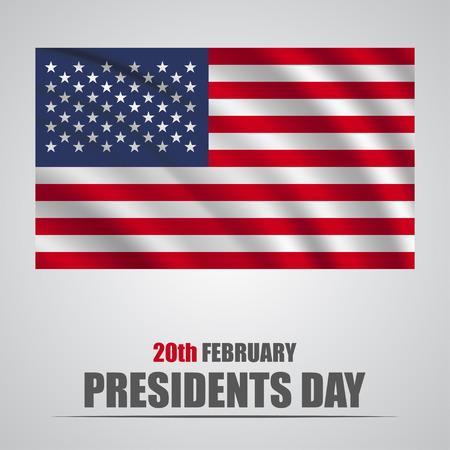 大統領の日。灰色の背景に旗を振ってアメリカ