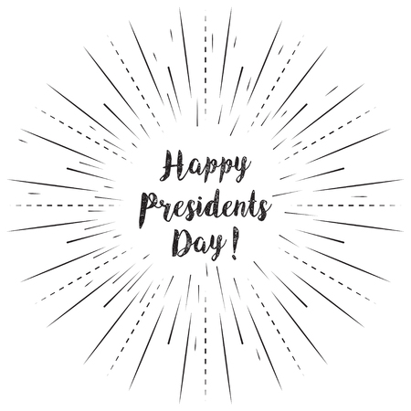 Happy Presidents Day text with sun rays linear background. Vector card design with custom calligraphy