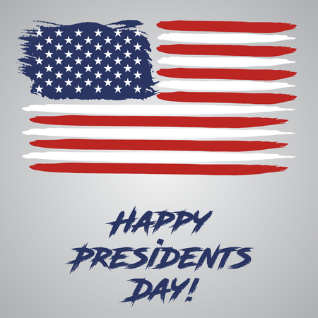 Presidents Day. USA watercolor flag on a gray background Illustration