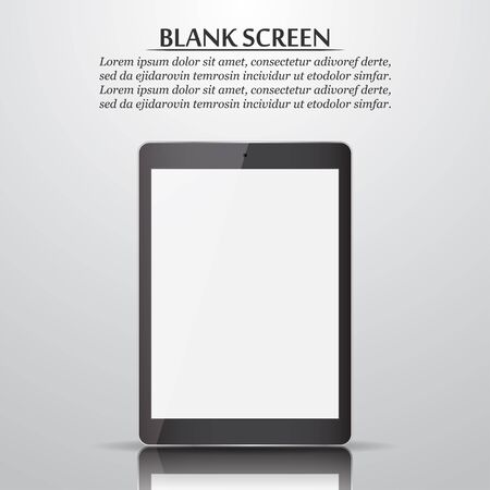 blank tablet: Blank screen. Tablet with reflection and shadow. Vector illustration