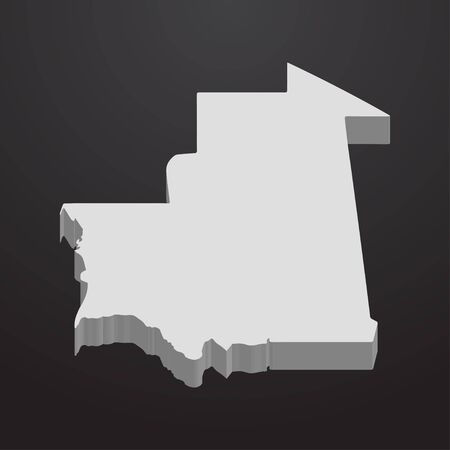 Mauritania map in gray on a black background 3d Illustration