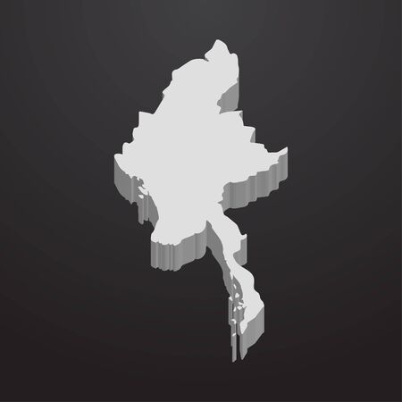 subdivisions: Myanmar map in gray on a black background 3d