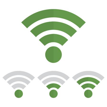 Indicator wifi communication set in green color Illustration