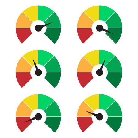 측정 아이콘의 집합입니다. 속도계 또는 평가 미터 징후 인포 그래픽 게이지 요소