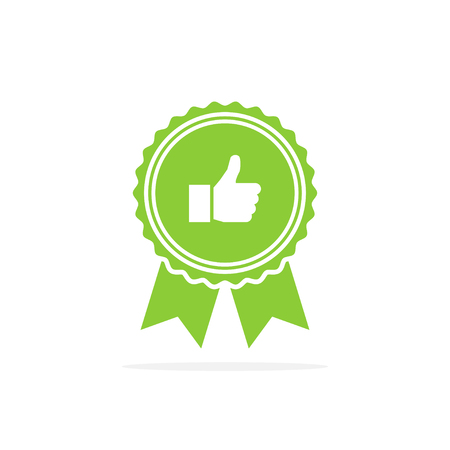 Badge with thumbs up. Green medal icon in a flat design