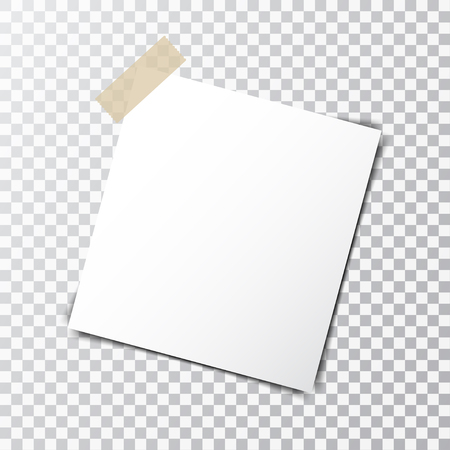 Paper sheet on sticky tape with transparent shadow isolated on a transparent background Vectores