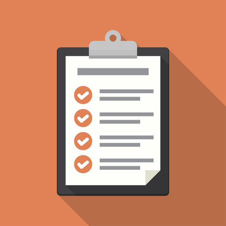 writing pad: Clipboard with checklist icon. Flat illustration of clipboard with checklist icon for web Illustration