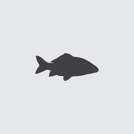 mediterranean homes: Fish icon in a flat design in black color. Vector illustration eps10