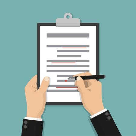 Editing documents to correct errors. Proofreader checks transcription written text Illustration
