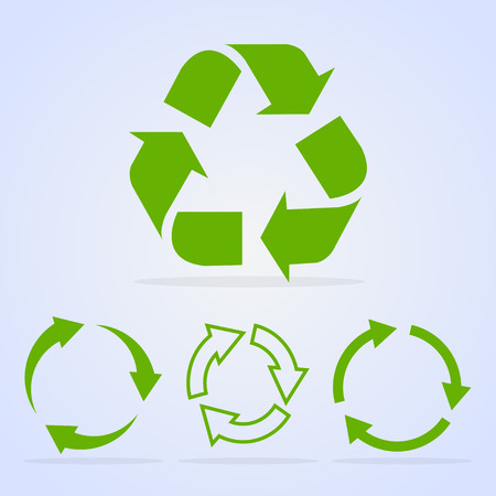 Recycled cycle arrows vector icon set illustration isolated on white background. Recycled eco vector icon. Illustration
