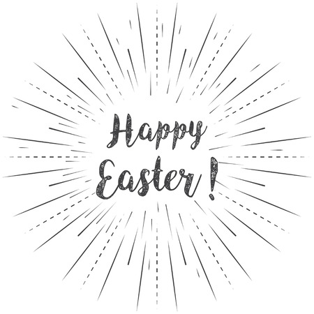 Happy Easter calligraphy with linear rays on a white background Illustration