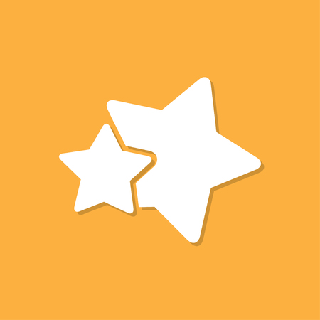Two stars icon with shadow in a flat design on a orange background