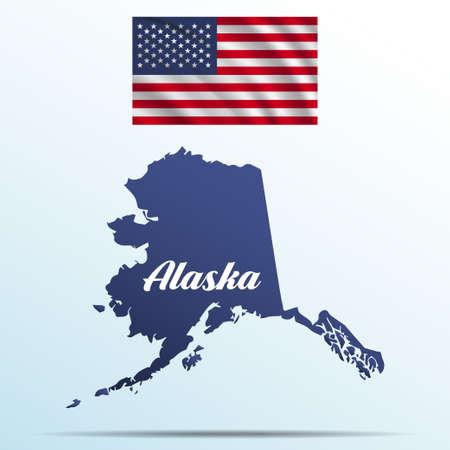 Alaska state with shadow with USA waving flag