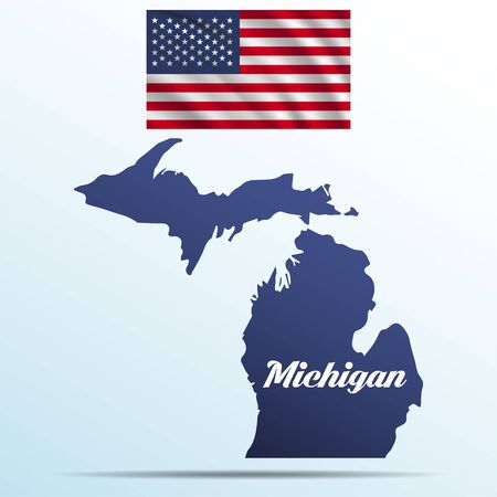 Michigan state with shadow with USA waving flag Иллюстрация