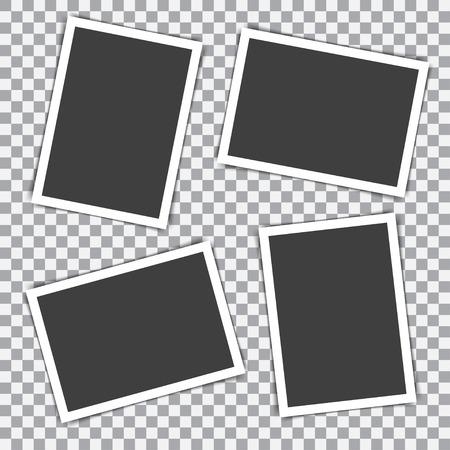 透明な背景に影付きレトロなフォト フレームのセット  イラスト・ベクター素材