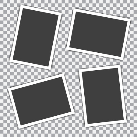 투명 배경에 그림자가있는 레트로 사진 프레임 세트