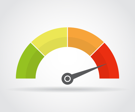 Performance Speedometer icon. Colorful infographic gauge element with shadow