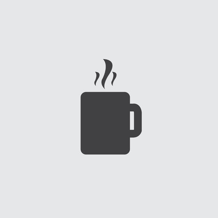 long bean: Hot cup icon in a flat design in black color. Vector illustration eps10