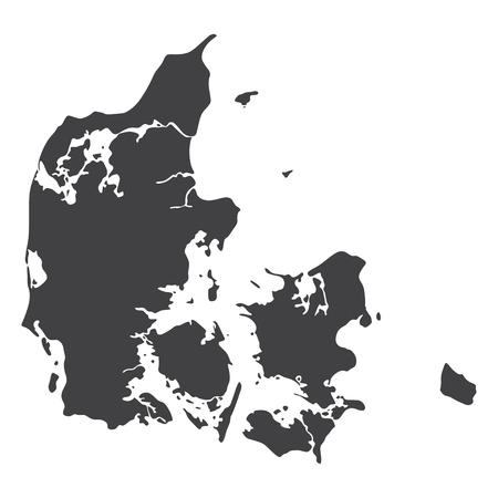 Carte du Danemark en noir sur fond blanc. Illustration vectorielle