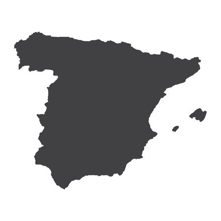 port of spain: Spain map in black on a white background. Vector illustration