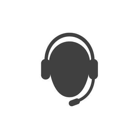 face with headset: Support icon in black on a white background. Vector illustration