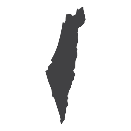 Israel map in black on a white background. Vector illustration