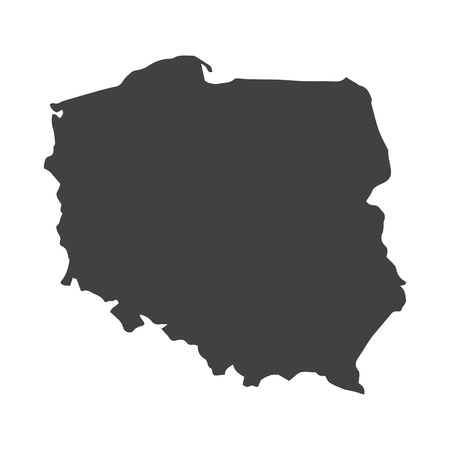 Poland map in black on a white background. Vector illustration