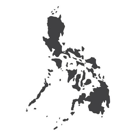 フィリピンは、白地に黒でマップします。ベクトル図  イラスト・ベクター素材