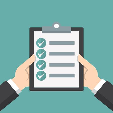 Businessman hands holding clipboard checklist in a flat design Ilustração