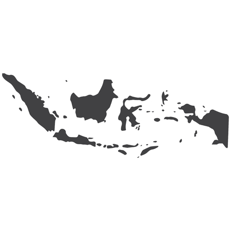 Indonesia map in black on a white background. Vector illustration