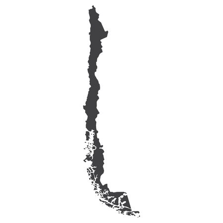 Chile map in black on a white background. Vector illustration Banco de Imagens - 75975381