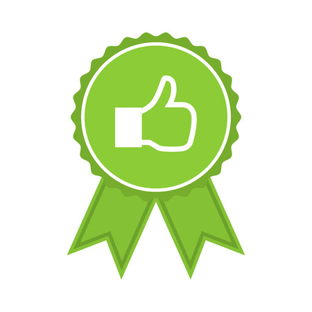 medal like: Green medal with like in a flat design