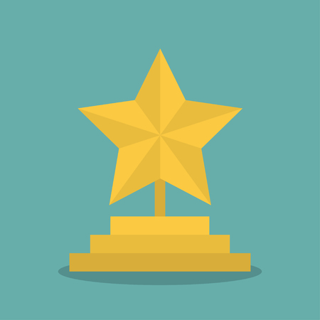 Golden star award icon with shadow in a flat design